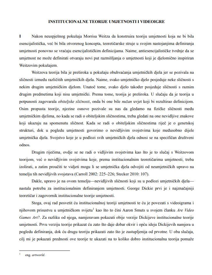 prikaz prve stranice dokumenta Institucionalne teorije umjetnosti i videoigre