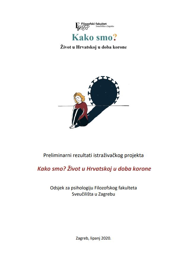 prikaz prve stranice dokumenta Kako smo? Život u Hrvatskoj u doba korone : Preliminarni rezultati istraživačkog projekta