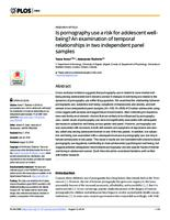 prikaz prve stranice dokumenta Is pornography use a risk for adolescent well-being? An examination of temporal relationships in two independent panel samples