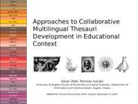 prikaz prve stranice dokumenta Approaches to Collaborative Multilingual Thesauri Development in Educational Context